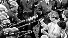 18 years old George Harris placing flowers into the rifle barrels of National Guardsman outside of the Pentagon, 1967