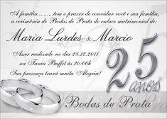Convite Personalizado Tema Bodas De Prata Bodas Pinterest