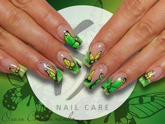 Beautiful summer french nails, Beautiful summer nails, Butterfly french manicure, Butterfly nail art, Butterfly nails, Cheerful nails, Color french manicure, Interesting nails