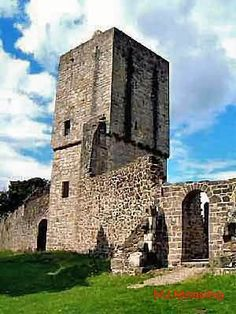 Mugdock Castle, the stronghold of the Clan Graham from the middle of the 13th century. Its ruins are located in Mugdock Country Park, just west of the village of Strathblane.