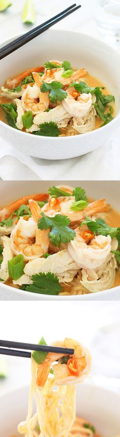 Coconut Curry Noodle Bowl – incredibly delicious, light, and refreshing Coconut Curry Noodle Bowl topped with chicken, shrimp, & herbs. | rasamalaysia.com
