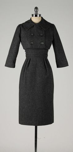vintage 1950s 2 pc dress . charcoal gray wool by millstreetvintage