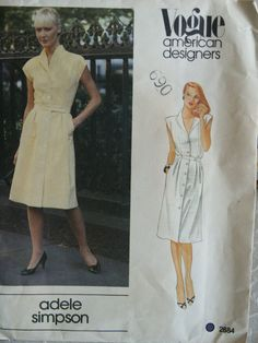 Vogue Misses' American Designer Adele Simpson Classic Front Button Dress Sewing Pattern 2284 Size 12 UNCUT