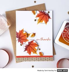 An Ombré pad featuring the glorious colors of fall leaves, spanning from mustard to rust to a deep burgundy. Ombré ink pads by Hero Arts offer a wash of three complementary colors that blend across your image to create depth in your stamping. Hero Arts Ombré inks are North American made, non-toxic, long lasting, and quick drying.