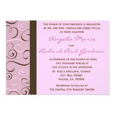 Discount DealsPink and Brown Swirls Wedding  Invitationin each seller & make purchase online for cheap. Choose the best price and best promotion as you thing Secure Checkout you can trust Buy best