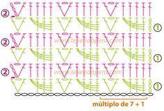 Punto fantasía tejido a crochet: motitas o piñas horizontales