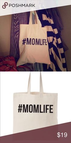 Labor Day Weekend Sale! #MOMLIFE Tote Folds flat with self-fabric handles. Sizing is 14 1/2 by 15 1/2. Made from 100% cotton canvas, this design was exclusive to Poshmark. Great gift bag idea for the mom to be! Gift it with all her essentials for the hospital or with baby must haves for her shower. **Please note all items will ship Tuesday due to the holiday** Salt Lake Clothing Bags Totes