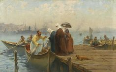 THE EMBARKATION, CONSTANTINOPLE by Fausto Zonaro