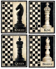 Amazon.com: 4 Classic Chess Pieces Art Prints King Queen Bishop Knight Game Room 8 x 10: Arts, Crafts & Sewing