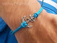 Silver Sailor Anchor Men's Bracelet Ocean Blue Waxed by MENsCORNER, $9.00