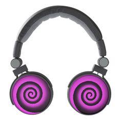 neon spiral pink DJ style headphones