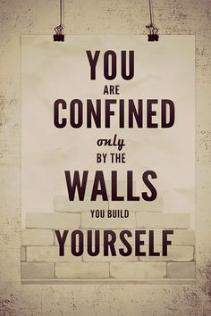 You are confined only by the walls you build.