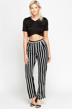 Multi Striped High Waist Straight Trousers