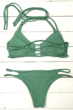 0c3974aa87 Cupshe Ice Cold Summer Strappy Halter Bikini Set Halter Bikini
