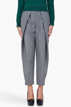 CARVEN Grey Wool Pleat Pants