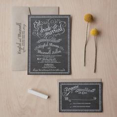 Chalkboard Wedding Invitations  vintage chic by JenSimpsonDesign, $3.75