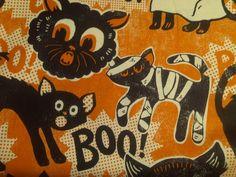 halloween fabric with black cats and shirtless men | Black Cat Kitten Vintage Style Maude Asbury Halloween Cotton fabric ...