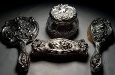 An American art nouveau sterling silver dresser set. Art Nouveau, Silver Dresser, Dresser Sets, Vanity Set, Regency, American Art, Curb Appeal, Period, Architecture