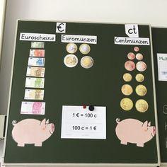 Thema: Geld. Kurze Einordnung in die Kategorien Scheine und Münzen. #grundschule #mathe #geld #instalehrerzimmer #instalehrer #instateacher #lehrer #hitzefrei #sparschwein