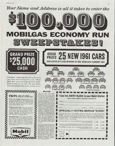 """Description: 1961 MOBILGAS vintage magazine advertisement """"Sweepstakes"""" -- Your Name and Address is all it takes to  enter   the    $ 100,000 Mobilgas Economy Run Sweepstakes! -- Size: The dimensions of the full-page advertisement are approximately 10.5 inches x 13.5 inches (26.75 cm x 34.25 cm). Condition: This original vintage full-page advertisement is in Excellent Condition unless otherwise noted."""