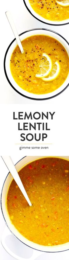 This is the BEST lentil soup recipe!! It's full of amazing lemony flavor, it's naturally healthy and vegan and gluten-free, it's quick and easy to make, and SO delicious. Instant Pot and Slow Cooker instructions included too!   Gimme Some Oven #lentilsoup #instantpot #cleaneating #redlentilsoup #glutenfree #vegan