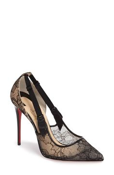 Free shipping and returns on Christian Louboutin Hot Jeanbi Pump (Women) at Nordstrom.com. Floral fishnets with black lingerie-inspired straps, as well as an incredibly tall stiletto heel, bring a seductive touch to your evening ensembles. Beautiful but delicate, the shoe's iconic red sole flashes with each step, providing a fiery pop of color as you stride across the room.