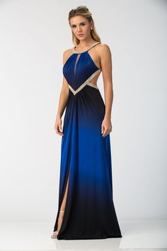 Elegant Full Length Prom and Evening Dress with Detail Gathered Bust, Beading Adorned Round Neckline and Open Back, Flowing A-Line Skirt with Ruching Detail on the Waistline and Above Knee Length Front Slit Completes the Style.