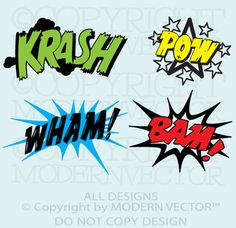 COMIC BOOK Word Splats Text Bubbles Vinyl Wall Decal Boy Bedroom Superhero Words | eBay