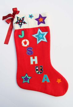 Luxury Personalised Handmade Christmas Stocking Gift - Name: Joshua Roses Luxury, Vintage Fabrics, Handmade Christmas, Christmas Stockings, Trending Outfits, Unique Jewelry, Handmade Gifts, Holiday Decor, How To Make