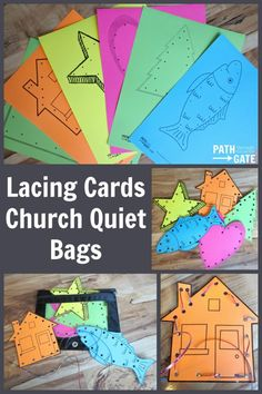 Lacing Cards are easy to make, portable, and sure to keep your child busy at church, in the doctor's office, or on a long car ride.