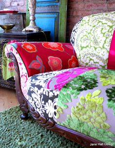 Custom Bedding, decorative pillows and furniture made from  Designers Guild fabric, imported from England available at Jane Hall Design