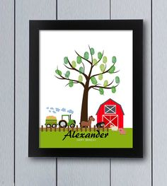 Farm Fingerprint tree / printable pdf / Guest Book Christening Baby Shower guestbook alternative idea thumbprint cow pig horse sheep tractor