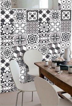 Wall Tile Vinyl Decal Sticker for Kitchen Bath by SnazzyDecal