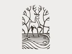 Scenic - Clever move here! Scenic by stevan_rodic@ @ - Deer Illustration, Illustrations, You Draw, Identity Design, Brand Identity, Animal Logo, Logo Design Inspiration, Line Art, Vector Art