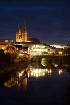 Omagh by night, County Tyrone Ireland Travel, Travel Uk, Belfast Northern Ireland, Green Valley, The Province, Places Of Interest, City Photography, Wonderful Places, Places Ive Been