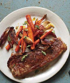 Strip Steak With Carrots, Onions, and Garlic | Get the recipe for Strip Steak With Carrots, Onions, and Garlic.