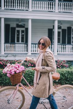 Gal Meets Glam Winter Bike Ride -Pure Cycle Pink Bike, Burberry trench, J.Crew sweater, J.Crew jeans, Ray Ban sunglasses & Mansur Gavriel bag