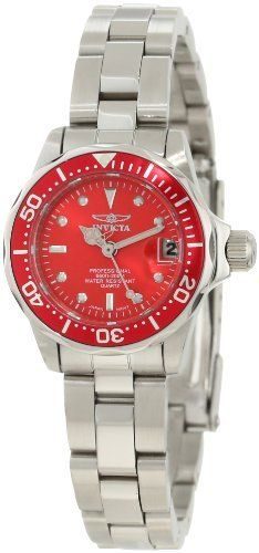 Invicta Women's 12522 Pro-Diver Red Dial Watch Invicta. Save 91 Off!. $65.25. Mineral crystal; polished and brushed stainless steel case and bracelet. Magnified date window. Water-resistant to 200 M (660 feet). Red dial with silver tone hands and hour markers; luminous; unidirectional stainless steel bezel with red ring. Japanese quartz movement