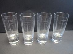 4 Princess House Etched Crystal Aston Tall Shot Glasses Barware Double Shots