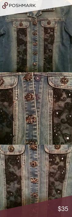 Sale!  Denim Jacket Jacket with beautiful black lace. Jackets & Coats Blazers