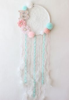 Baby Girl Dream Catcher Wall Hanging, Personalized Baby Gifts For Girl, Crochet Dreamcatcher, Pink Mint Decor Baby Shower Decorations Girl Floral Dream Catcher Wall Hanging Pom Pom Dream Catcher Personalized Baby Gifts For Girl Baby Shower Baby Girl Gifts, Gifts For Girls, Baby Boy, Baby Girls, Diy For Girls, Kids Girls, Dreamcatcher Crochet, Crochet Mandala, Mural Floral