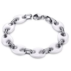 Silver and White Ceramic Chain Bracelet