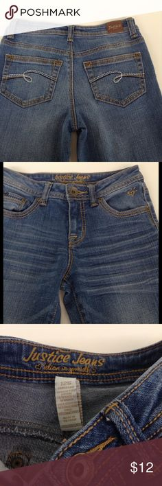 🎀 GIRLS 12 Slim Skinny Justice Jeans Medium Rinse Comfy factory faded/distressed/feathered jeans by Justice.  Excellent pre-loved condition.  Please note size is 12 SLIM.  Skinny through the legs.  Simply Low rise of 8 inches.  Classic 5 pocket styling.  Measurements taken lying flat, straight across, in inches.  Please compare to another item you currently own.  Waist: 12.5  Inseam: 28.5 Rise: 8.  99% cotton/1% spandex. Justice Bottoms Jeans