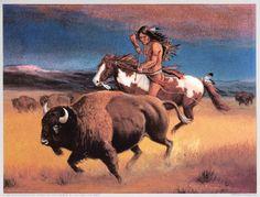 Marianne Caroselli/Indian Hunter kK Native American Warrior, Native American Artists, Native American Indians, Buffalo Painting, Buffalo Art, Native Indian, Native Art, Comanche Warrior, Indian Artwork
