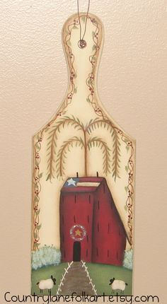 Salt box house mini bread board hand painted by countrylanefolkart,