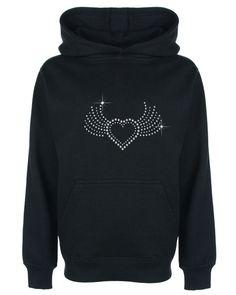 Heart with Wings Rhinestone/Diamante Embellished Kids' Hoodie 3-13 Years Unisex #GuildenFDMFruitOfTheLoomorequivalent #Hoodie