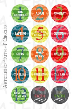 Articles of Faith Numbers - 4 x 6 Digital Collage Sheet - 1 inch Round Circles - Buy 2 Get 1 Free - Sale - INSTANT DOWNLOAD  Be cute for passing off the articles on a keychain or bookmark, etc.