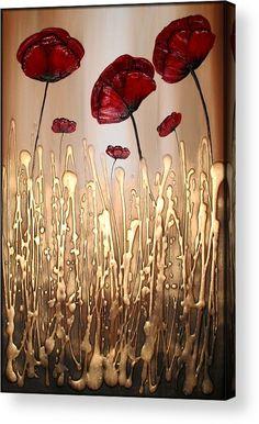 Poppy Flower Painting, Flower Art, Poppies Painting, Paintings Of Flowers, Flower Canvas, Flower Crafts, Art Paintings, Hot Glue Art, Gun Art