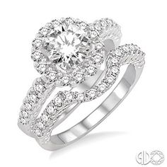 1 5/8 Ctw Diamond Wedding Set with 1 1/4 Ctw Round Cut Engagement Ring and 1/3 Ctw Wedding Band in 14K White Gold