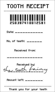 This is an image of Influential Free Printable Tooth Fairy Receipt